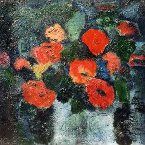 Flori roşii, ulei pe carton, 41x31cm