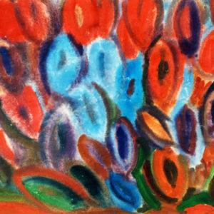 Dansul florilor, acuarelă, 50x35cm, 1975 (aprox)