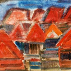 Case ţărănesti, acuarelă, 50x35cm, 1975 (aprox)