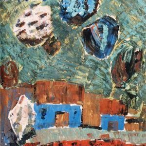 Case albastre, tempera, 70x100cm