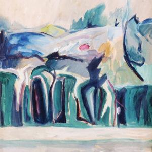 Peisaj la Tarniţa, tempera, 70x80cm, 1983