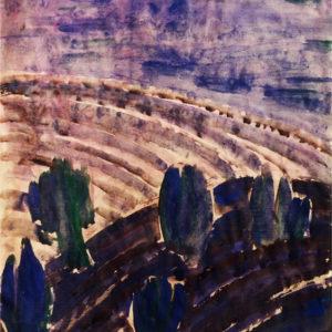 Câmp brăzdat, acuarelă, 50x70cm, 1967