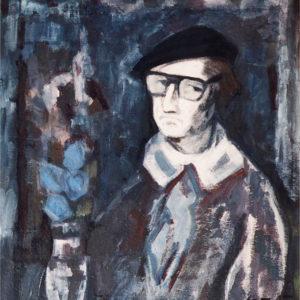 Autoportret, mixt (ulei+tempera) pe carton, 70x80cm, 1984
