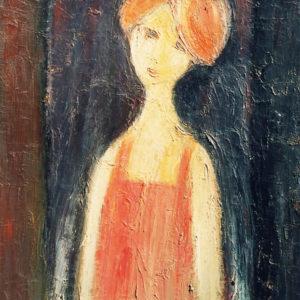 Portret de fată, ulei pe carton, 65x80cm