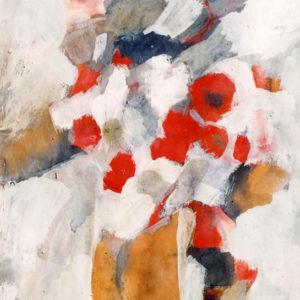 Buchet cu flori roşii, tempera, 35x50cm-1979 (aprox)