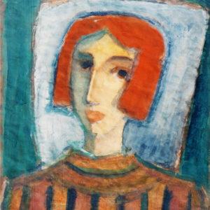 Portret-Înainte de spectacol, tempera, 50x65cm, 1977 (aprox)