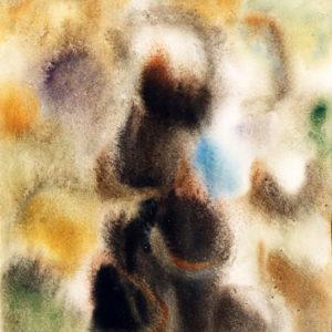 Vas înflorit, acuarelă, 35x50cm, 1975 (aprox)
