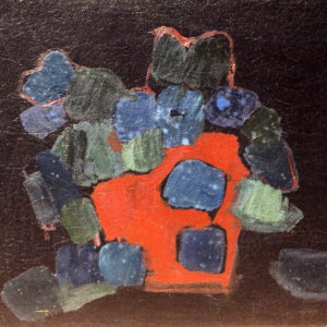 14Flowers in a red pot, oil on paperboard, 42 x 50 cm, not signed, undated (1980-90)