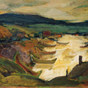 20Boats, oil on paperboard, 40 x 60 cm, signed, undated (1980-90)
