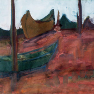 22Boats on the seashore, tempera, 35 x 50 cm, not signed, undated (1970-80)