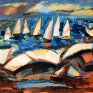 24Boats, tempera, 50 x 60 cm, signed, undated (1980-90)