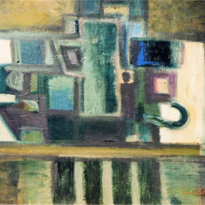 45Still life, oil in paperboard, 53 x 70 cm, signed, undated (1980-90)
