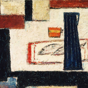 46Table with ornaments, oil on canvas, 60 x 80 cm, signed, undated (ca. 1962)