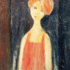 48Portrait of a girl, oil on paperboard, 80 x 65 cm, not signed, undated (1980-90)
