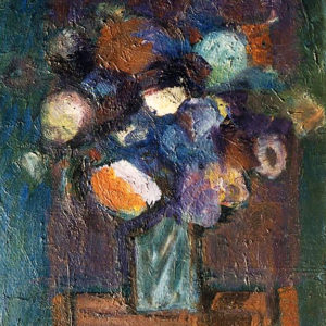 8Flower pot, oil on paperboard, 42 x 35 cm, signed, undated (1980-90)