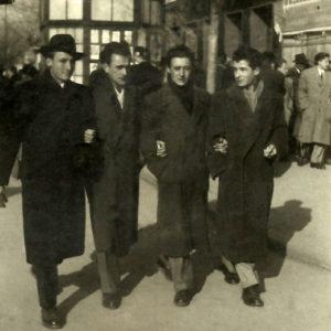 Inseparable in friendship Emil Băcilă, Liviu Florean,, Vasile Crişan, Gheorghe Apostu, 1951