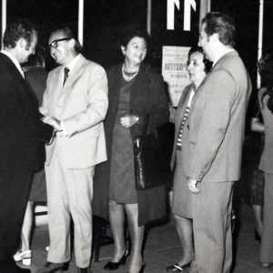 Next to his wife and close friends. Solo exibition opening, Cluj-Napoca, 1980