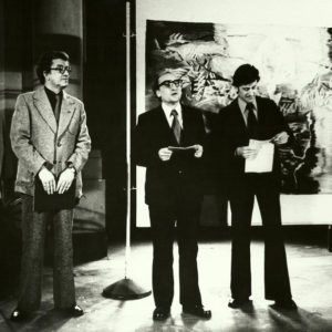 "Opening speech for the students' tapestry exhibition. ""Young Romanian Artists in DRG"", Dresden, Germany, 1977"