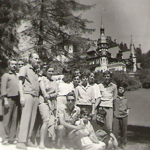 Visiting the Peleş Castle during the summer camp at Câmpina with the 3rd year group (Painting Department), Sinaia, July 1963