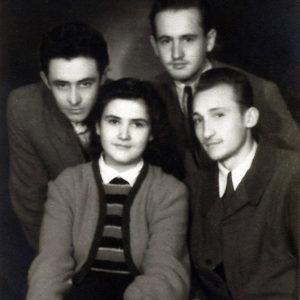 With friends, Vasile Crişan, Liviu Florean,Ligia, Emil Băcilă, 1952