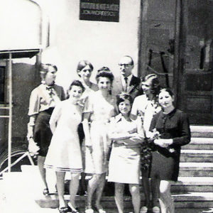 With graduates of Textile Department 1970-71 academic year, Cluj-Napoca, 1971