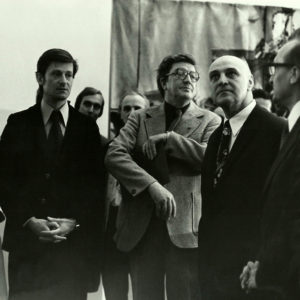 "With members of ""Ion Andreescu"" Institute and German officials during the tapestry exhibition. ""Young Romanian Artists in DRG"" Dresden, Germany, 1977"